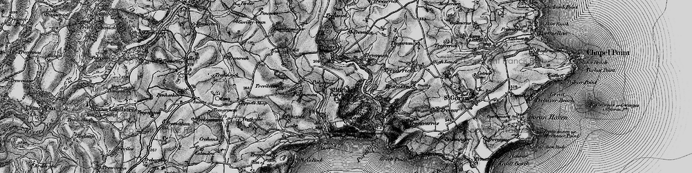Old map of St Michael Caerhays in 1895