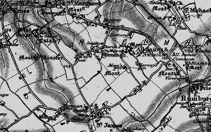 Old map of St Nicholas South Elmham in 1898