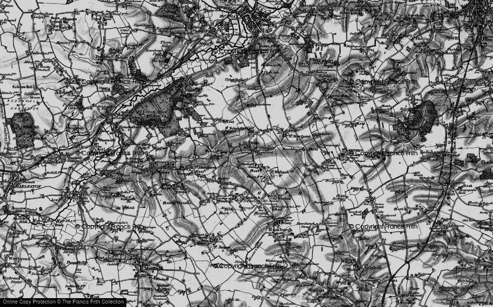 Old Map of St Peter South Elmham, 1898 in 1898