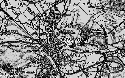 Old map of Stafford in 1898