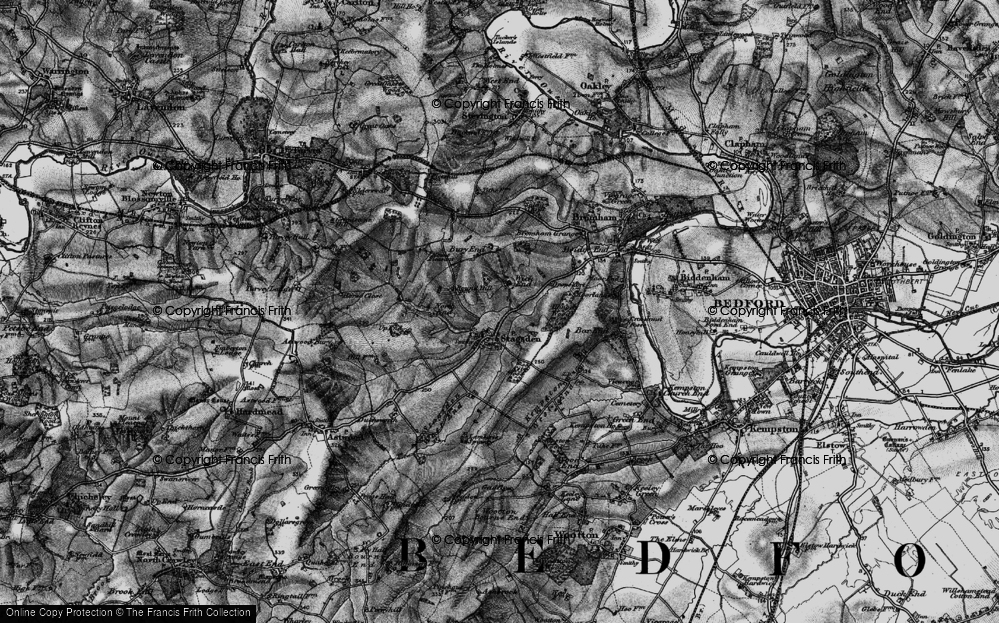 Old Map of Historic Map covering Astey Wood in 1896