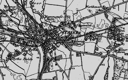 Old map of Staines in 1896