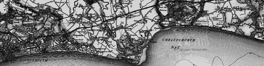Old map of Hengistbury Head in 1895