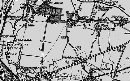 Old map of Stanwell in 1896
