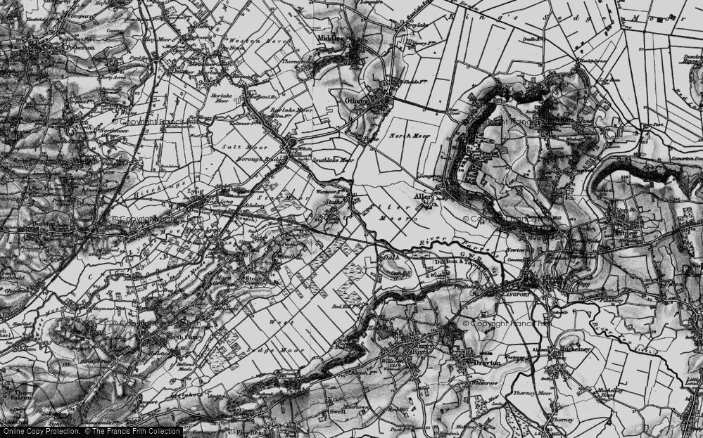 Old Map of Historic Map covering Aller Moor in 1898