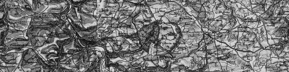 Old map of Allin's Week in 1898