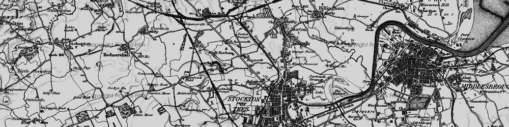 Old map of Stockton-on-Tees in 1898