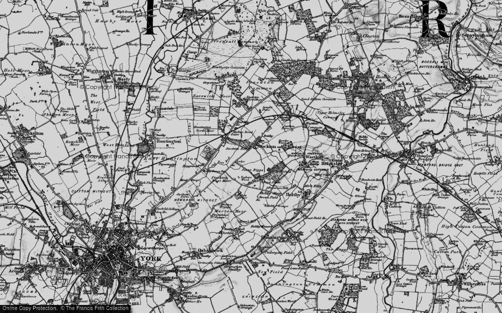 Old Map of Historic Map covering Old Foss Beck in 1898