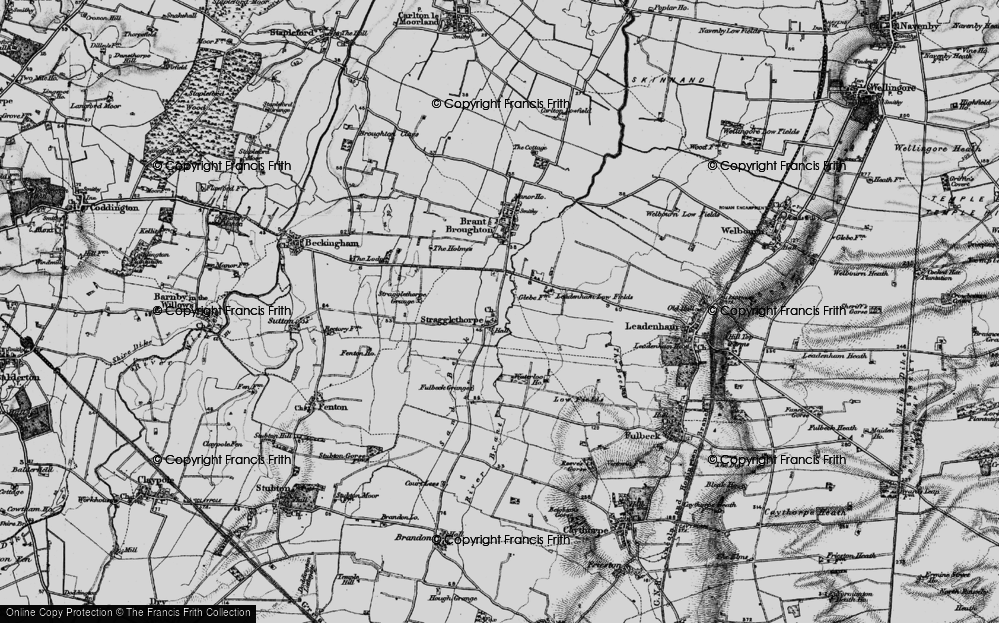 Old Map of Historic Map covering Leadenham Low Fields in 1895