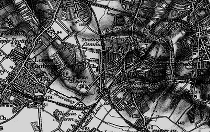 Old map of Tooting Bec Common in 1895