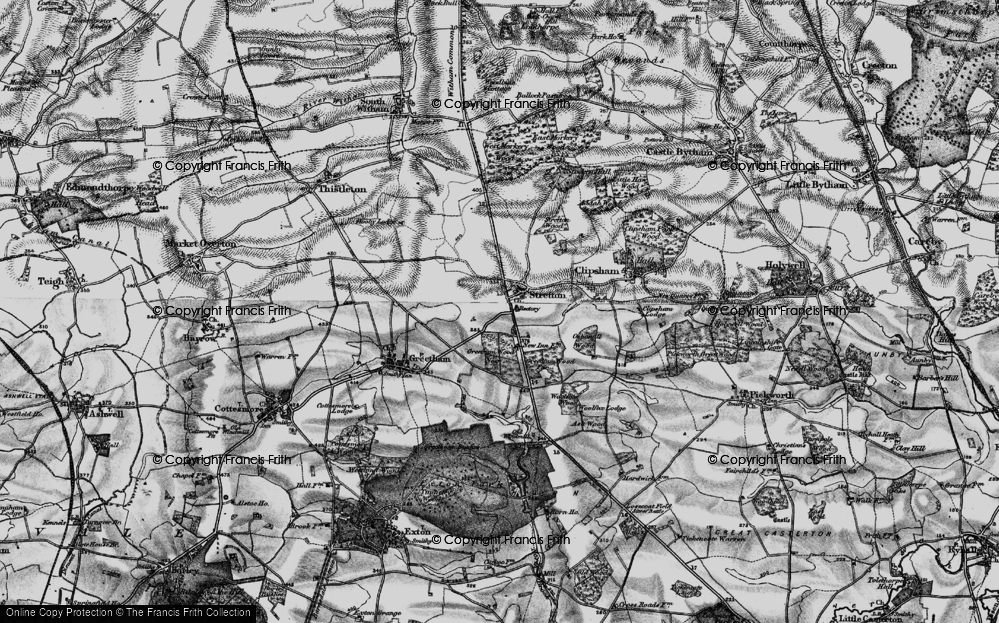 Old Map of Historic Map covering Woolfox Wood in 1895