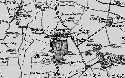 Old map of Sutton-on-the-Forest in 1898