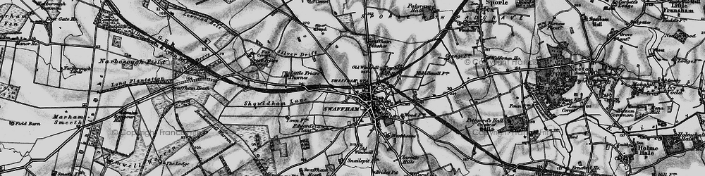 Old map of Swaffham in 1898