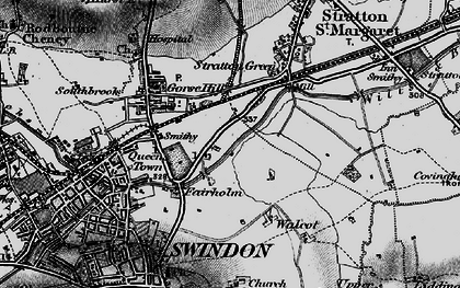 Old map of Swindon in 1898