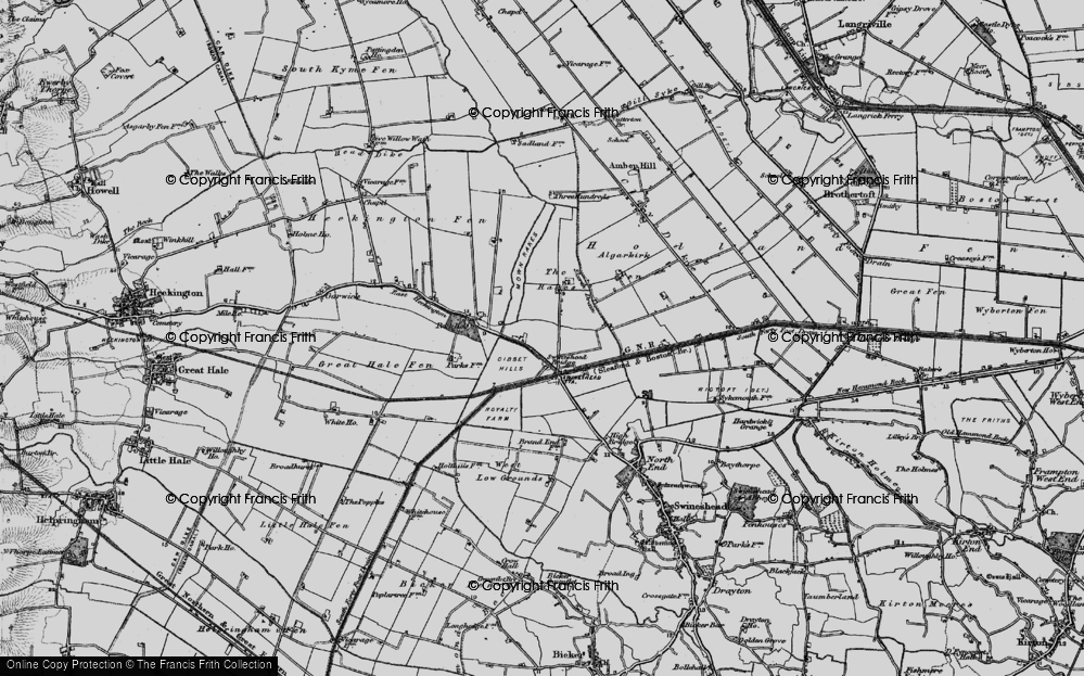 Old Map of Historic Map covering Algarkirk Fen in 1898