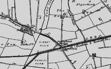 Old map of Algarkirk Fen in 1898