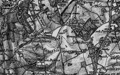 Old map of Tattenham Corner in 1896
