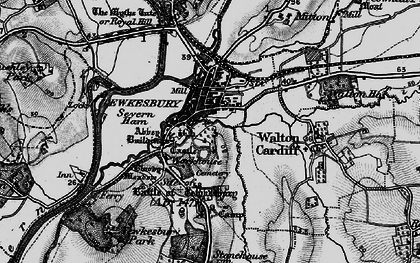 Old map of Tewkesbury in 1896