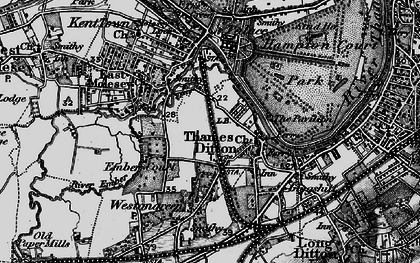 Old map of Thames Ditton in 1896