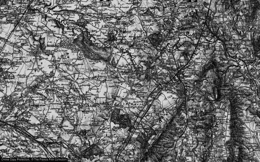 Old Map of Historic Map covering Astbury Mere in 1897