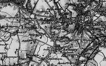 Old map of Astbury Mere in 1897