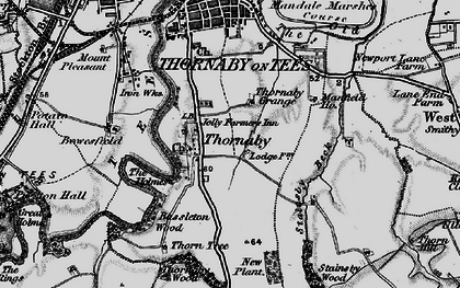 Old map of Thornaby-on-Tees in 1898