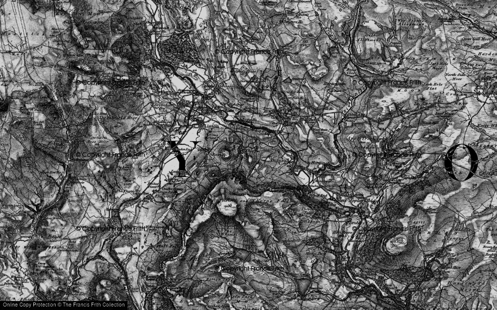 Old Map of Historic Map covering Air Scar Crags in 1898