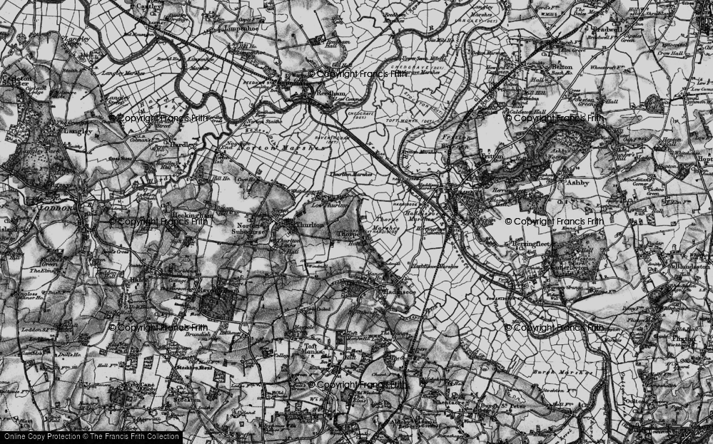 Old Map of Historic Map covering Thurlton Marshes in 1898