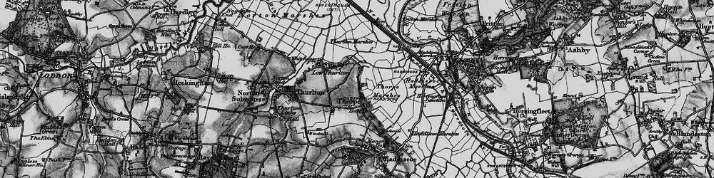 Old map of Thurlton Marshes in 1898