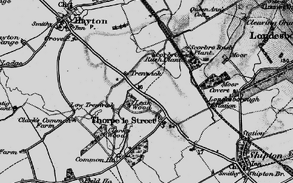 Old map of Leak Wood in 1898