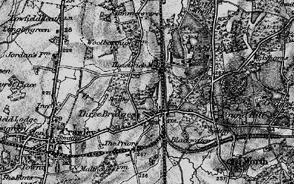 Old map of Three Bridges in 1896