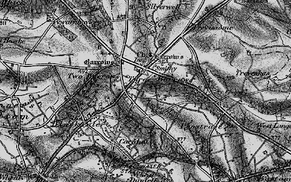 Old map of Three Burrows in 1895