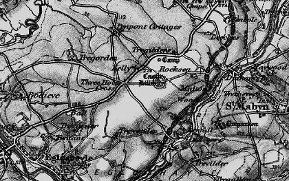 Old map of Three Holes Cross in 1895