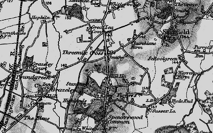 Old map of Three Mile Cross in 1895