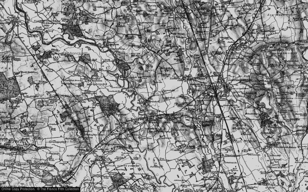 Old Map of Historic Map covering Yafforth Grange in 1898
