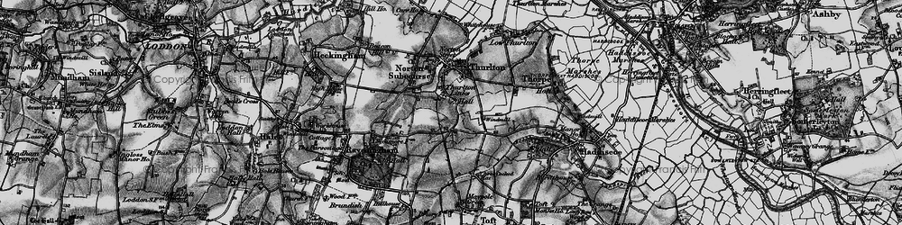 Old map of Thurlton Links in 1898