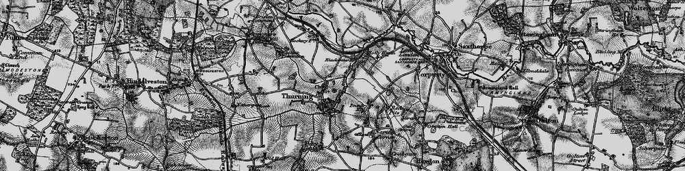 Old map of Thurning in 1898