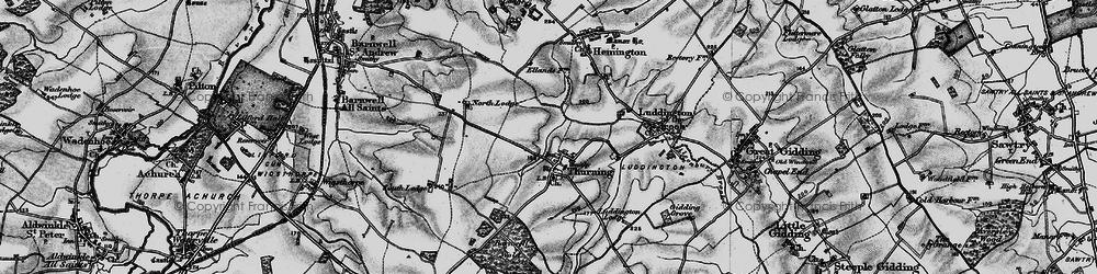 Old map of Thurning Lodge in 1898