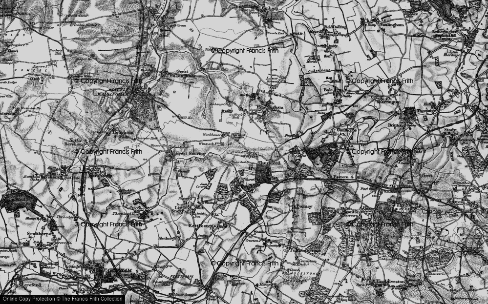 Old Map of Historic Map covering Thursford Common in 1899