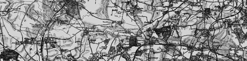 Old map of Thursford Common in 1899