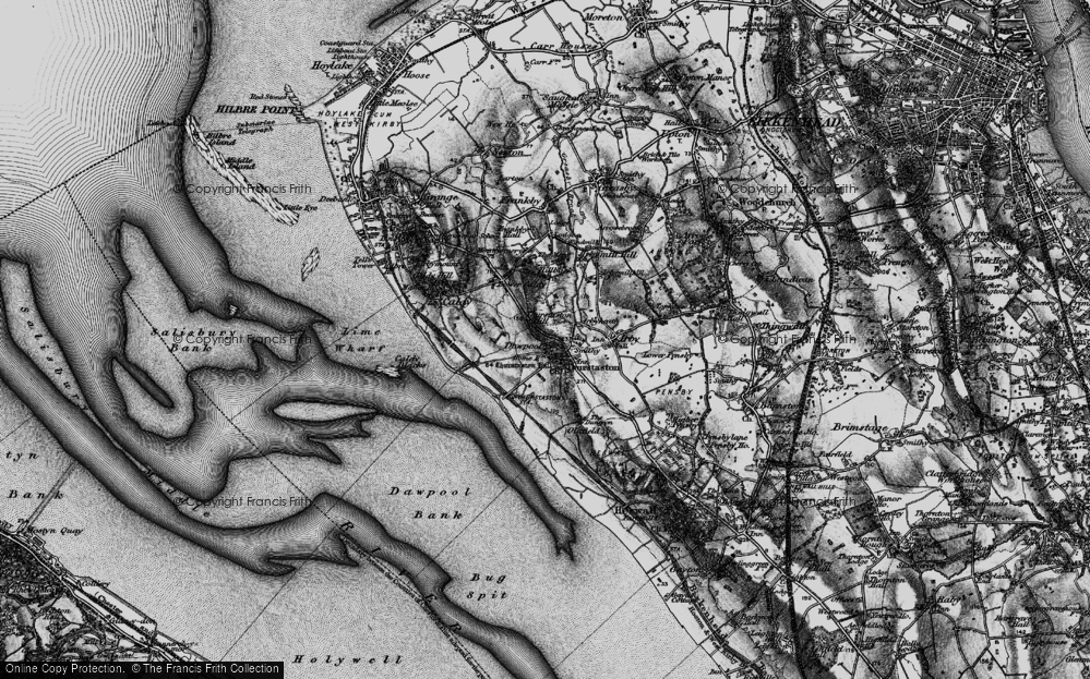 Old Map of Historic Map covering Thurstaston Common in 1896