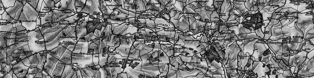 Old map of Thurston End in 1895
