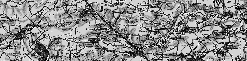 Old map of Thuxton in 1898