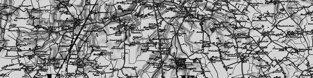 Old map of Thwaite in 1898