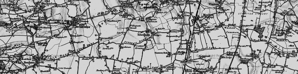 Old map of Tibenham in 1898