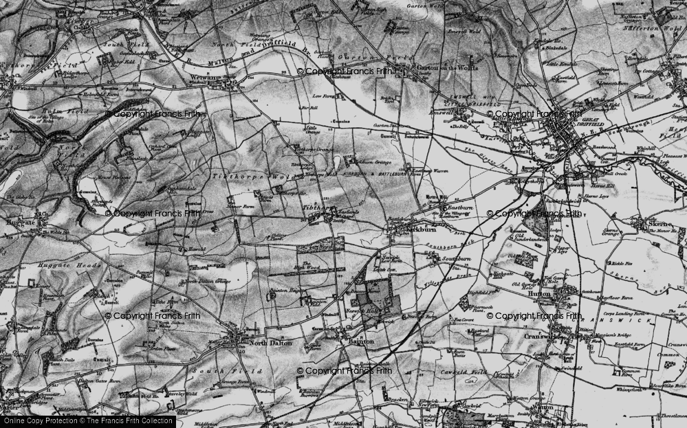 Old Map of Historic Map covering Tibthorpe Manor in 1898