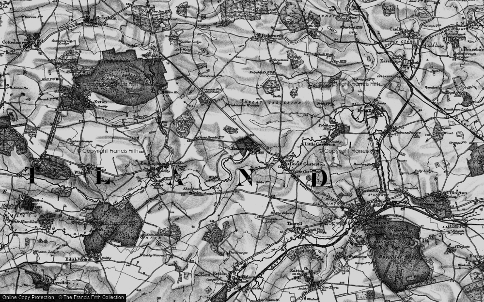 Old Map of Historic Map covering Tickencote Warren in 1895