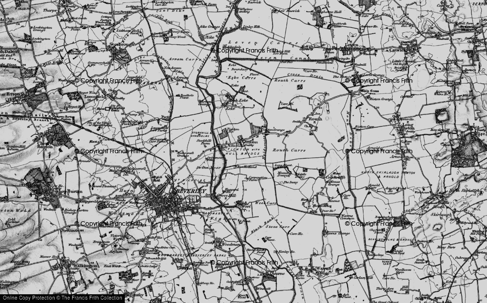 Old Map of Historic Map covering Tickton Hall in 1898
