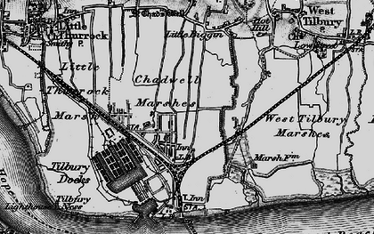 Old map of Tilbury in 1896