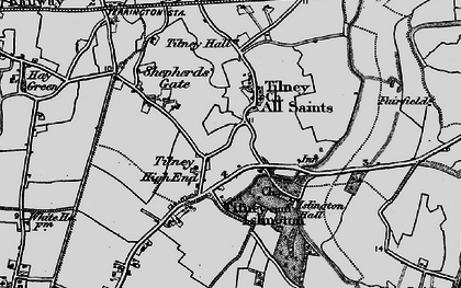 Old map of Tilney High End in 1893